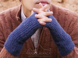 Alpaca Mens Handmade Fingerless Gloves