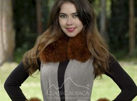 Baby Alpaca Fur Trim Wrap