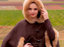 Ladies Reversible Alpaca Cape with Fur