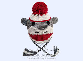 Alpaca Kids - Sock Monkey Alpaca Hat with Ear Flaps