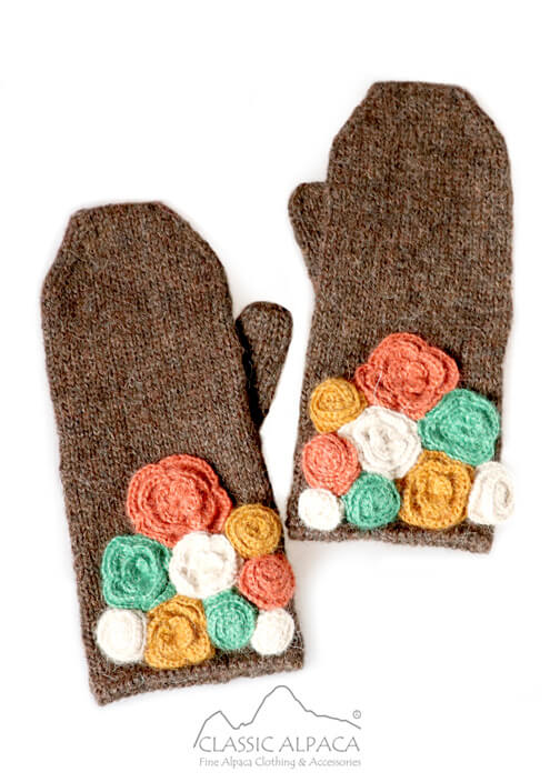 Colored Flowers Alpaca Mittens