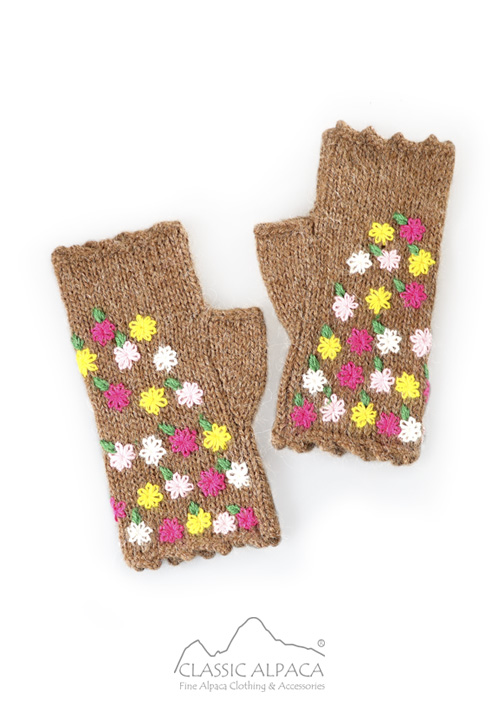 Bouquet Alpaca Fingerless Gloves