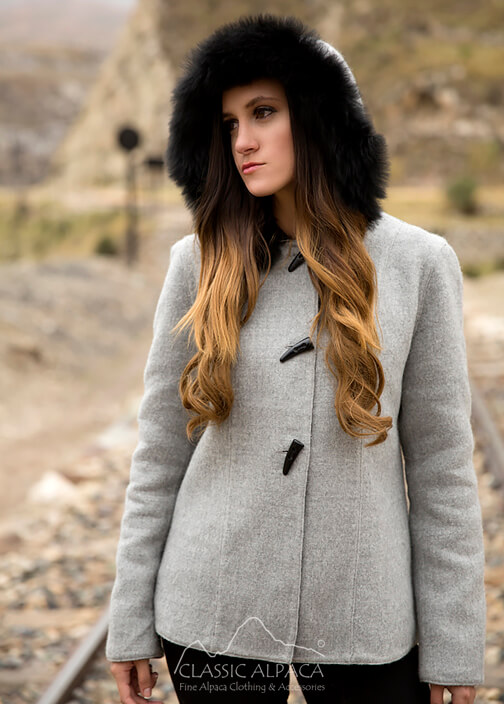 Ladies Reversible Alpaca Toggle Jacket with Fur