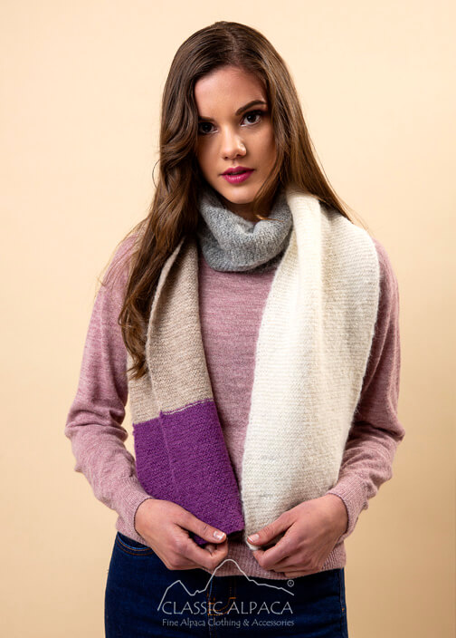 Colour Block Brushed Alpaca Scarf