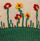 Embroidered Garden Alpaca Hat - Fleece Lining in Beige-Deep Green