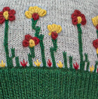 Embroidered Garden Alpaca Hat - Fleece Lining in Lt. Grey-Deep Green