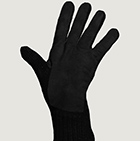 Alpaca Double Layer Driving Gloves in Black-Black